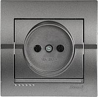 DERIY 702 2828 122 Розетка с/з серебристый металлик