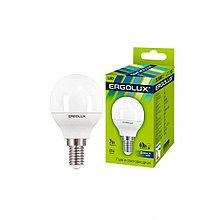 Эл. лампа светодиодная, Ergolux, LED-G45-7W-E14-6K, Шар, Мощность 7Вт, Тип колбы G45, Цвет. температ