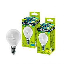 Эл. лампа светодиодная, Ergolux, LED-G45-7W-E14-3K, Шар, Мощность 7Вт, Тип колбы G45, Цвет. температ