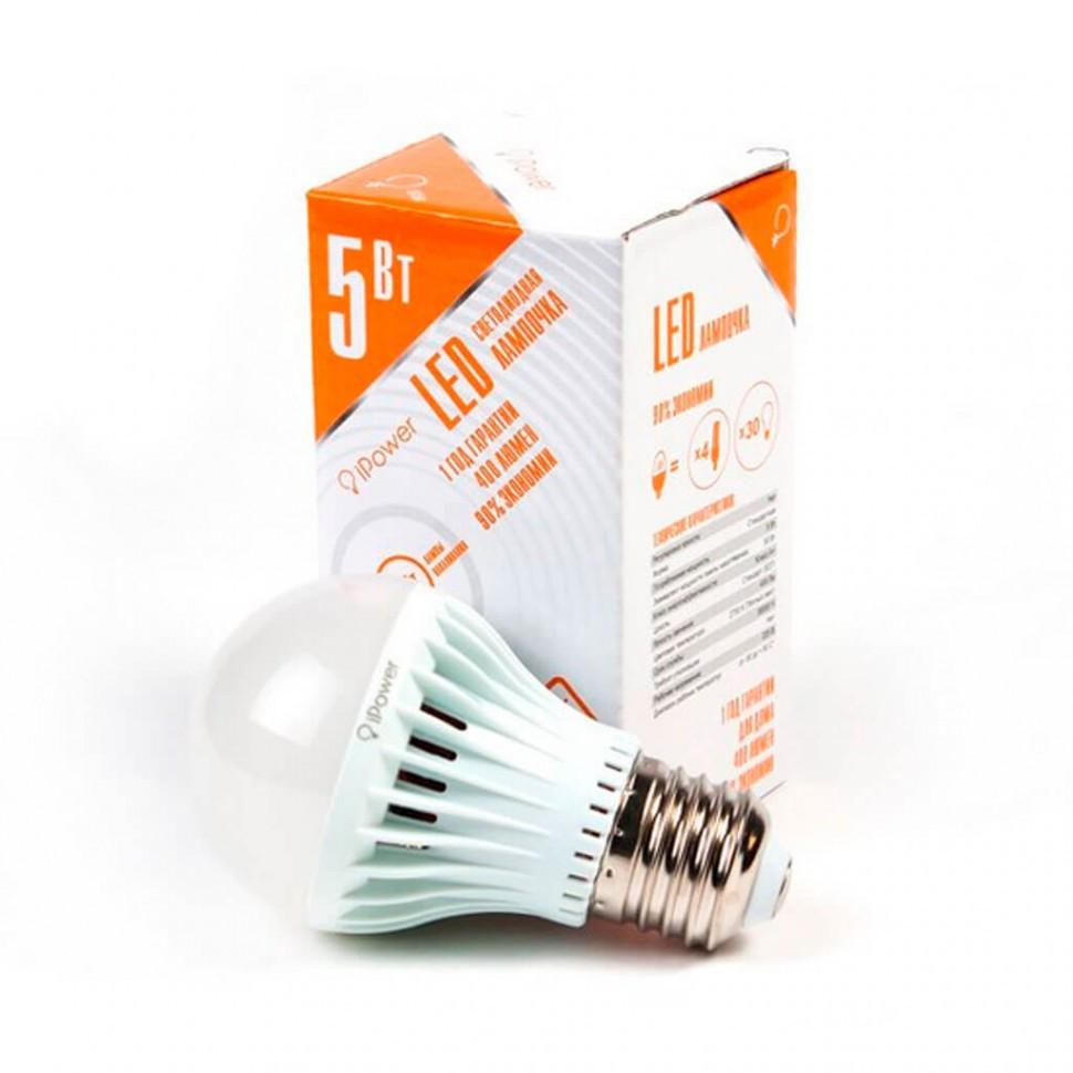 Светодиодная лампа, iPower, IPHB5W2700KE27, 5Вт, 2700K (Тёплый Свет), Цоколь E27, Яркость свечения 4