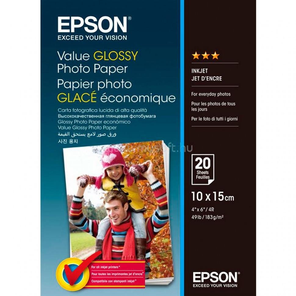 Фотобумага A4 Epson C13S400037Value Glossy Photo Paper 10x15 20 sheet