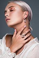 """Серебряные серьги-гвоздики (пусеты) из коллекции """"Натуральные камни"""".Вставка: розовый кварц, вес: 8,"""
