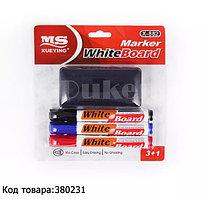 Набор маркеров с круглым наконечником и губка с ворсовым покрытием для доски 3+1 Х-882