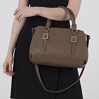 Сумка женская, 2 отдела на молнии, наружный карман, цвет светло-коричневый
