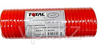 Шланг спиральный, воздушный с быстросъемными соединениями,  ⌀ 5мм. 15м. 18бар, TOTAL TOOLS
