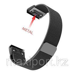 Ремешок магнитный (черный металл) 20мм для Garmin fenix 5s, fenix 5s plus, fenix 6s