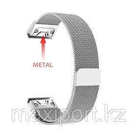 Ремешок магнитный  (серый металл) 20мм для Garmin fenix 5s, fenix 5s plus, fenix 6s