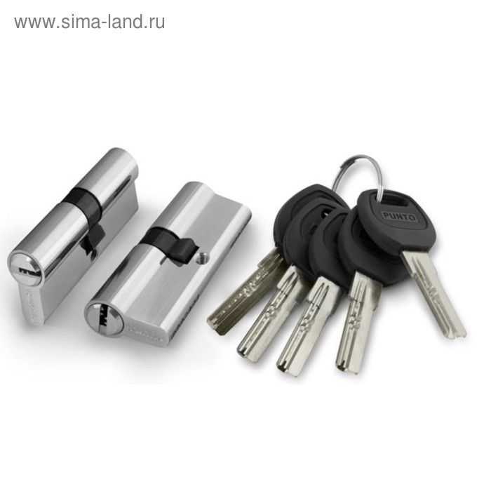Цилиндровый механизм Punto A200/90 SN, 35х10х45 мм, 5 ключей, цвет никель - фото 1