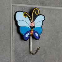 Крючок-наклейка 'Бабочка', цвет синий