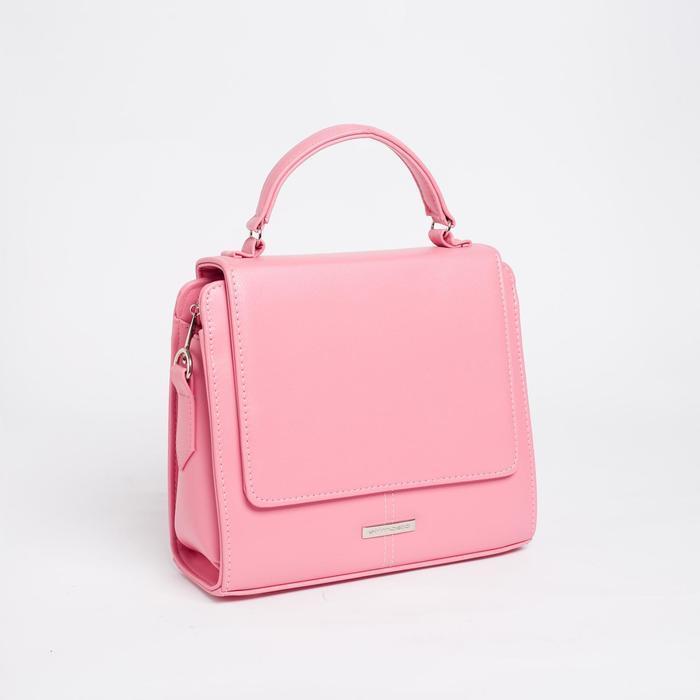 Сумка жен 986-1, 27*13*24, отд на клапане, н/карман, регул ремень, розовый