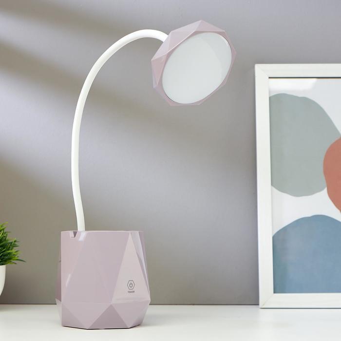 Лампа настольная сенсорная 16091/1 20хLED 4Вт 3 режима USB АКБ фиолетовый 10,5х10,5х47 см