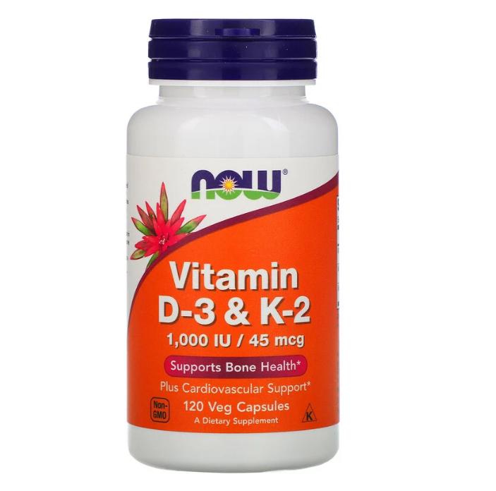 Now Foods, Витамины D3 и K2, 120 растительных капсул