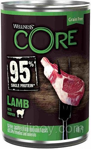 Влажный беззерновой корм для собак всех пород Wellness Core 95 ягненок с тыквой