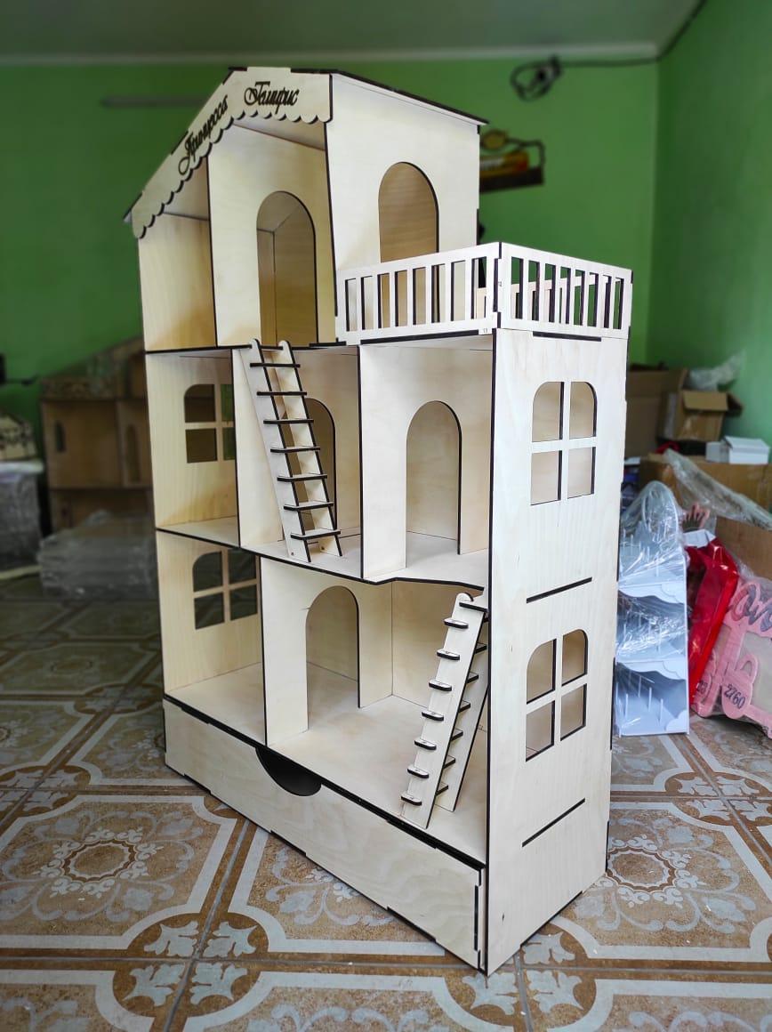 Большой Кукольный эко домик с комодом (без мебели)