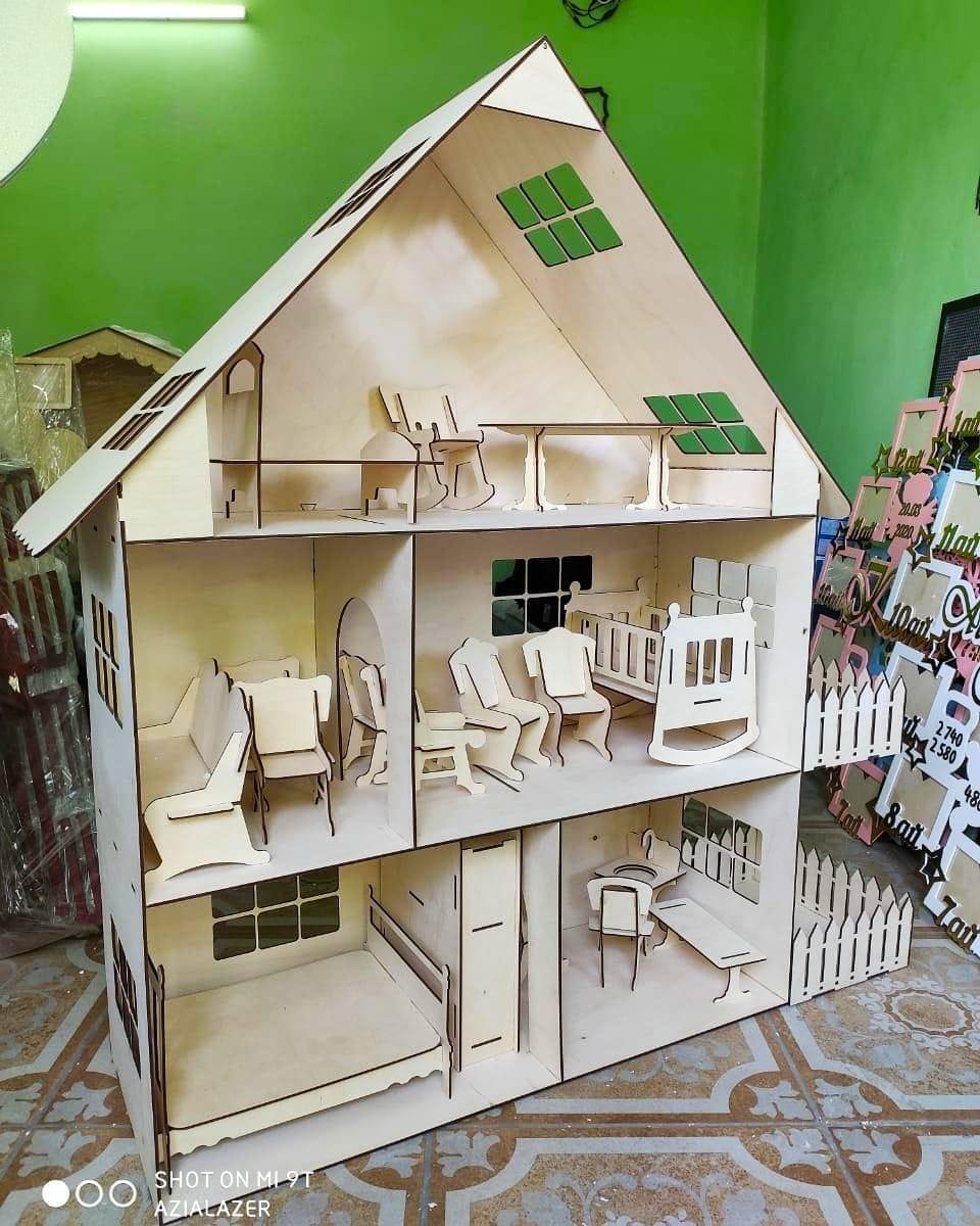 Большой эко кукольный домик (без мебели)