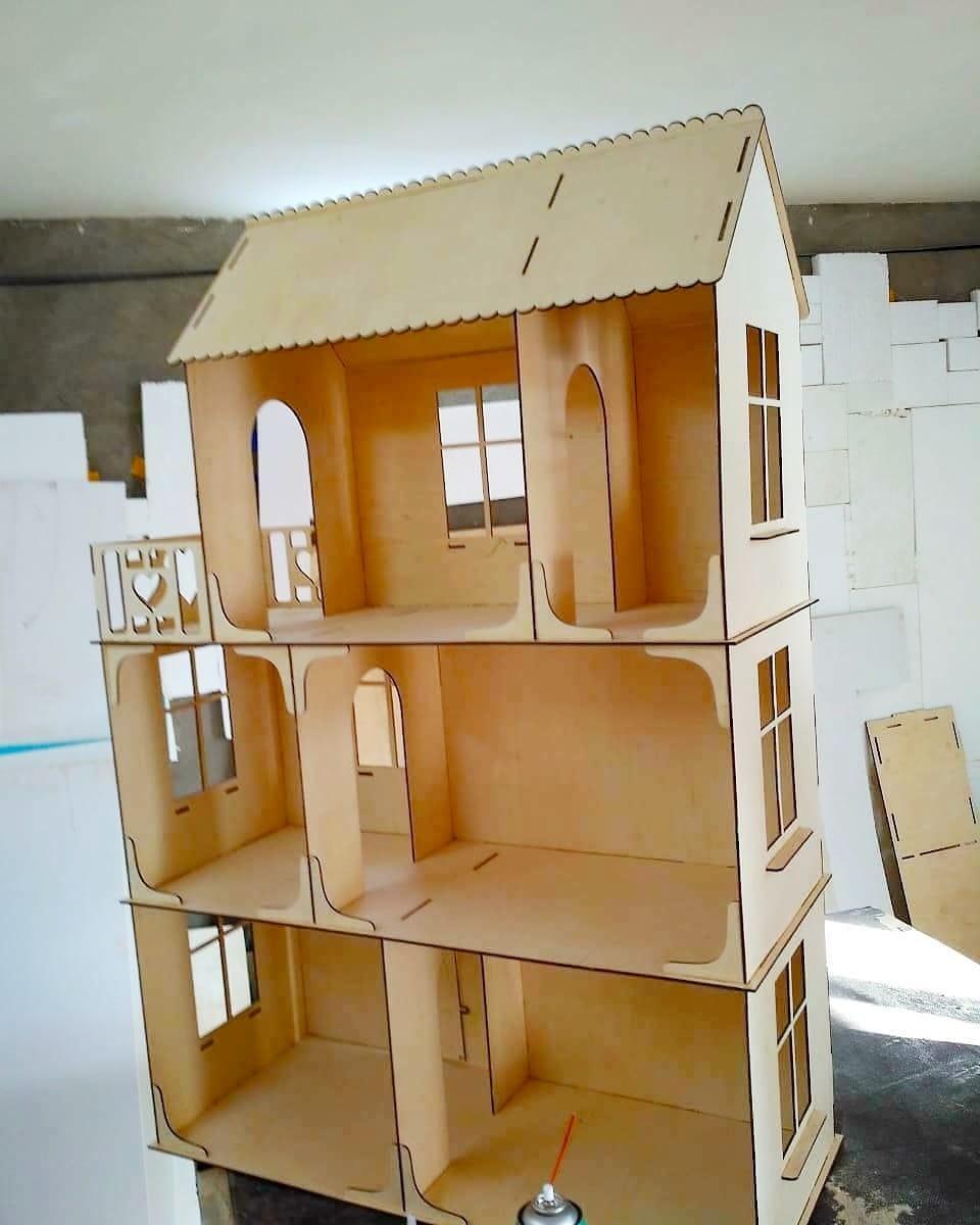 Большой кукольный эко домик (без мебели)
