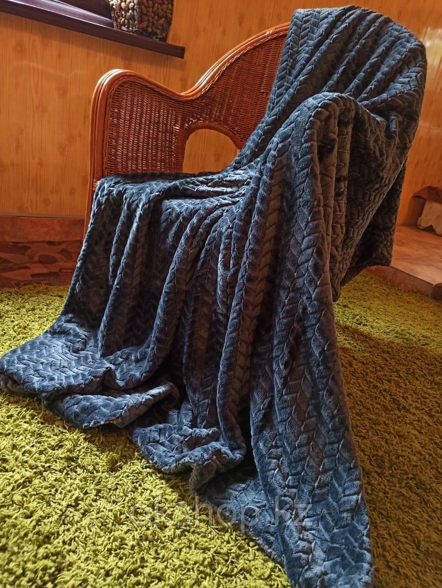 Плед барашек синий полуторка
