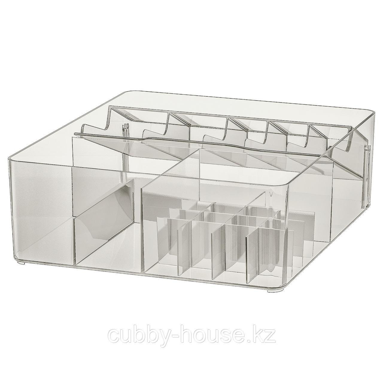 ГОДМОРГОН Ящик с отделениями, дымчатый, 32x28x10 см