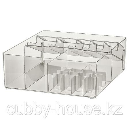 ГОДМОРГОН Ящик с отделениями, дымчатый, 32x28x10 см, фото 2