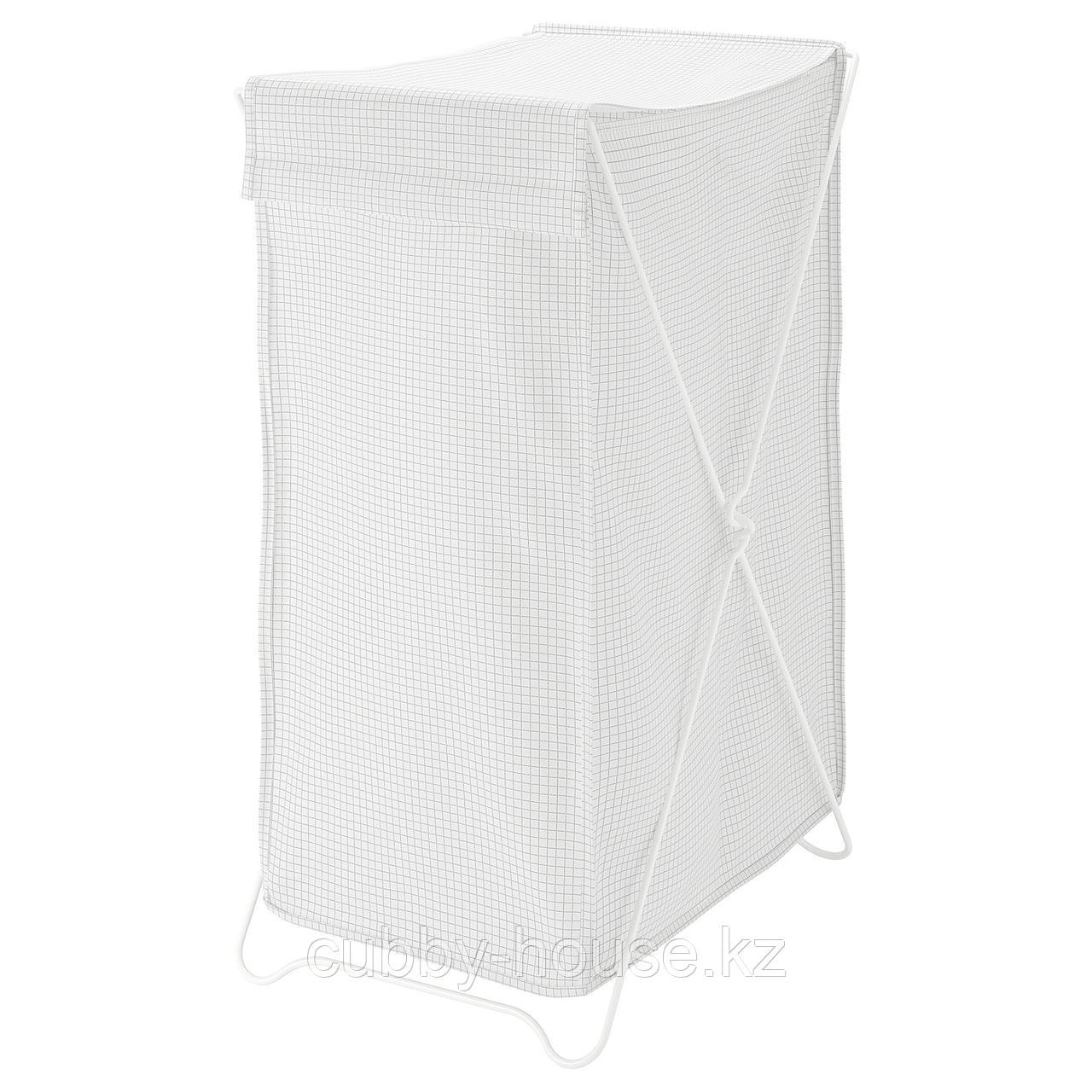 ТОРКИС Корзина для белья, белый/серый, 90 л