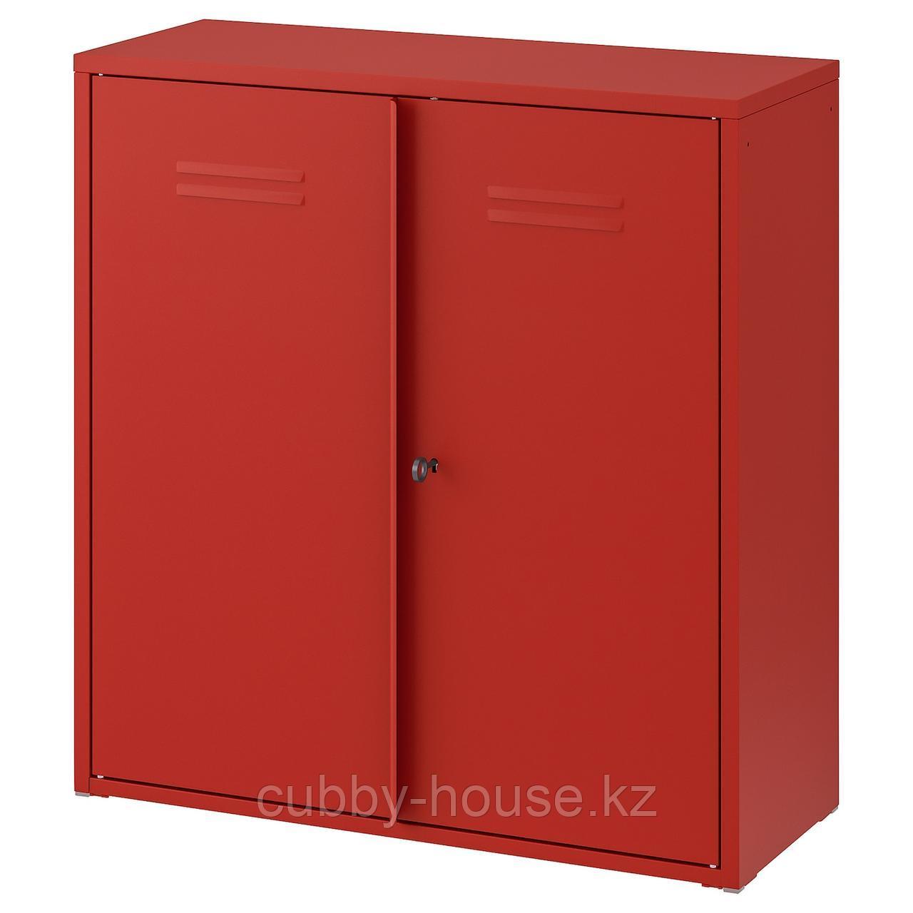 ИВАР Шкаф с дверями, красный, 80x83 см
