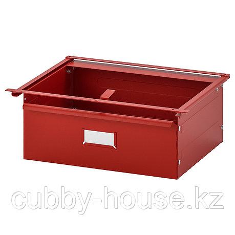 ИВАР Ящик, красный, 39x30x14 см, фото 2