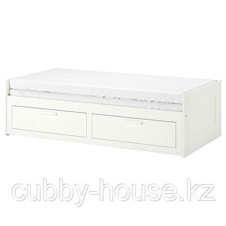 БРИМНЭС Каркас кровати-кушетки с 2 ящиками, белый, 80(160)x200 см, фото 2