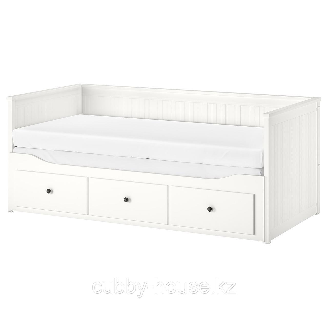 ХЕМНЭС Каркас кровати-кушетки с 3 ящиками, белый, 80x200 см