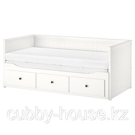ХЕМНЭС Каркас кровати-кушетки с 3 ящиками, белый, 80x200 см, фото 2