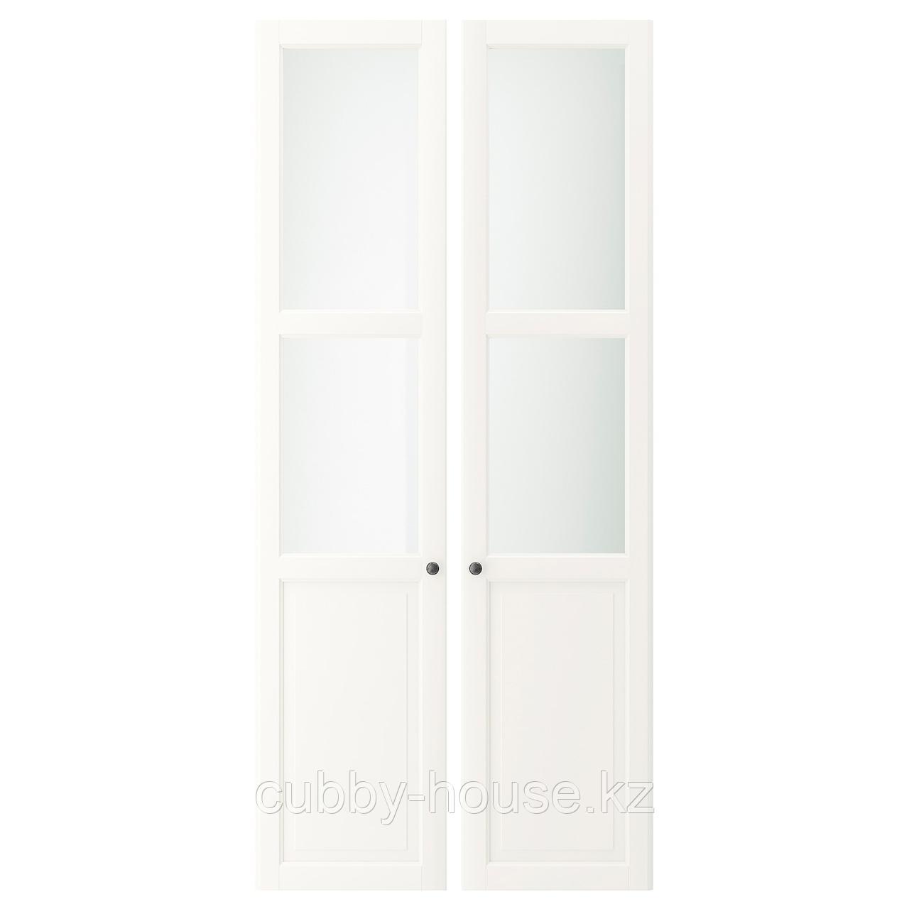 ЛИАТОРП Панельн/стеклян дверца, белый, 44x198 см
