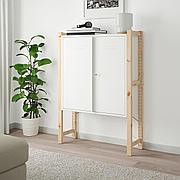 ИВАР Шкаф с дверями, сосна, белый, 89x30x124 см