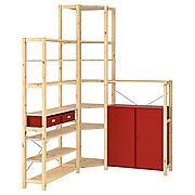 ИВАР Угловой стеллаж со шкафом/ящиками, сосна, красный, 145/145x30x226 см