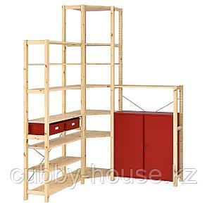 ИВАР Угловой стеллаж со шкафом/ящиками, сосна, красный, 145/145x30x226 см, фото 2