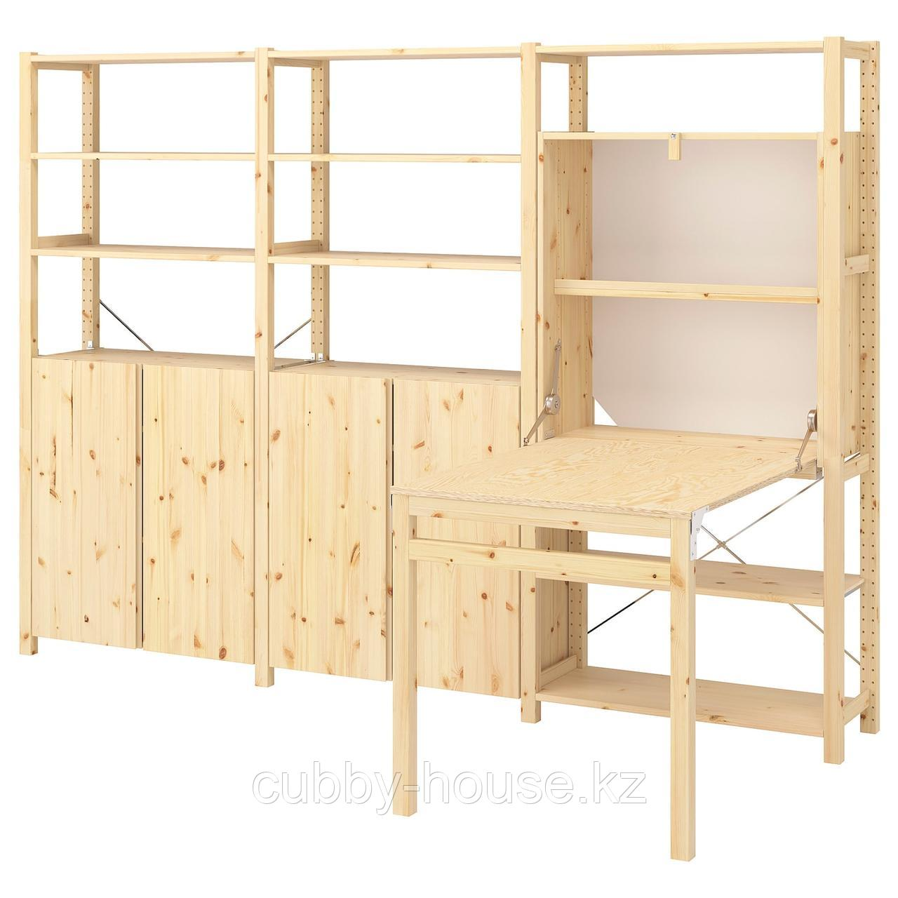 ИВАР Стеллаж со столом/шкафами/полками, сосна, 259x30-104x179 см
