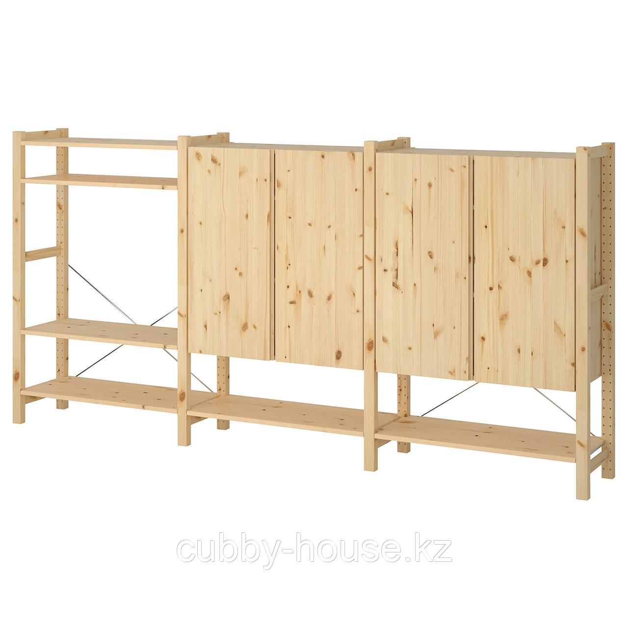 ИВАР 3 секции/полки/шкаф, сосна, 259x30x124 см