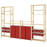 ИВАР Стеллаж со шкафами/ящиками, сосна, красный, 344x30x226 см