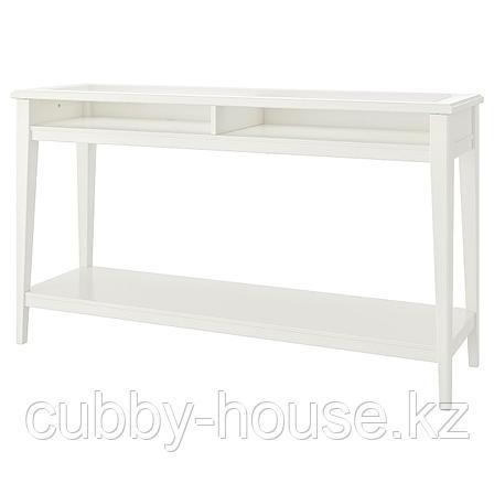 ЛИАТОРП Консольный стол, белый, стекло, 133x37 см, фото 2