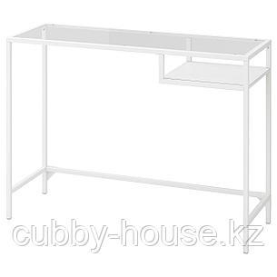 ВИТШЁ Стол д/ноутбука, белый, стекло, 100x36 см, фото 2