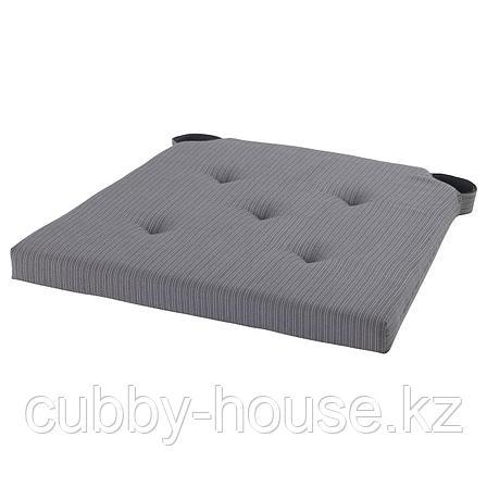 ЮСТИНА Подушка на стул, серый, 35/42x40x4.0 см, фото 2