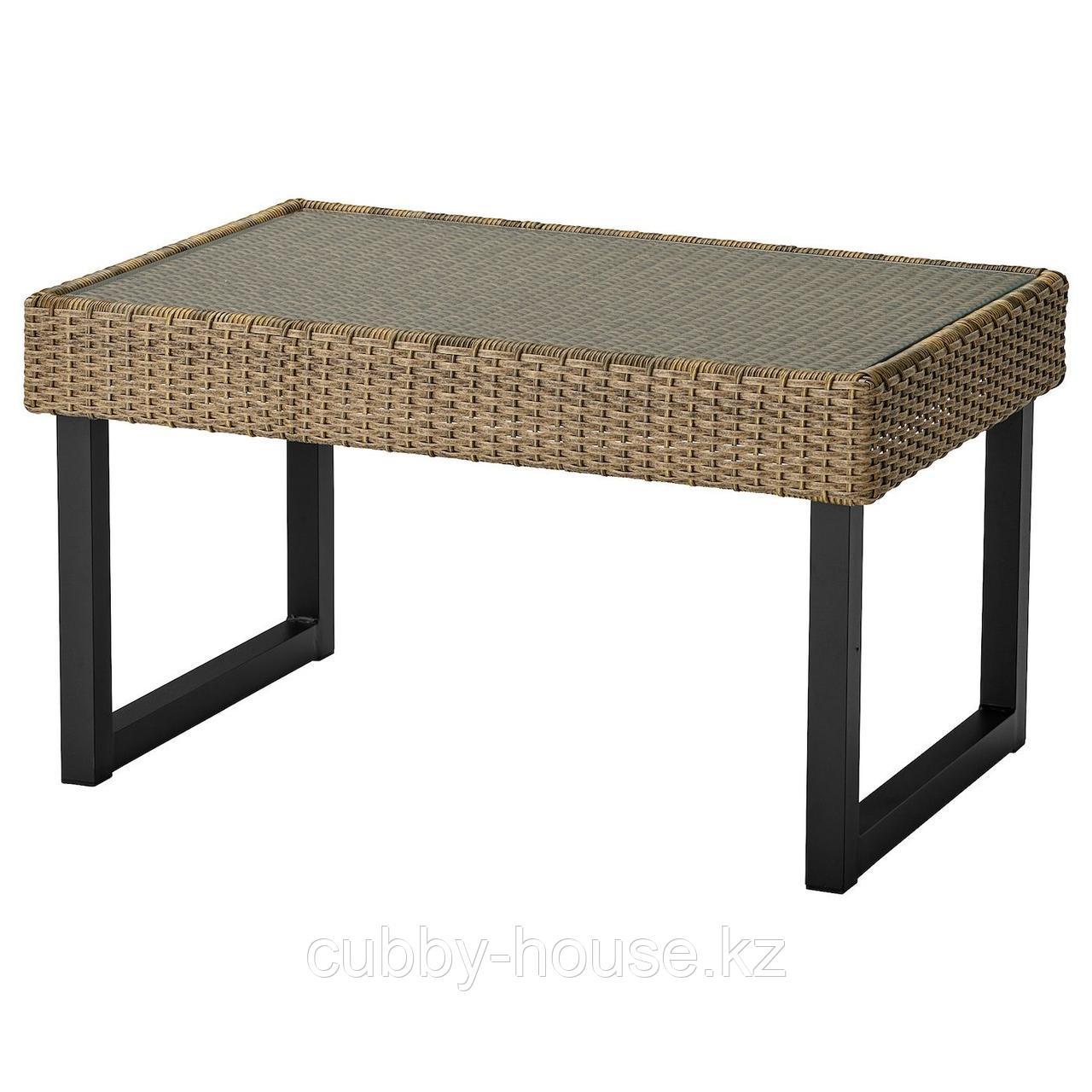 СОЛЛЕРОН Садовый столик, антрацит, коричневый, 92x62 см
