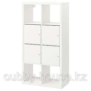 КАЛЛАКС Стеллаж с дверцами, белый, 77x147 см, фото 2