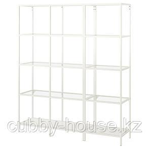 ВИТШЁ Шкаф, белый, стекло, 151x36x175 см, фото 2