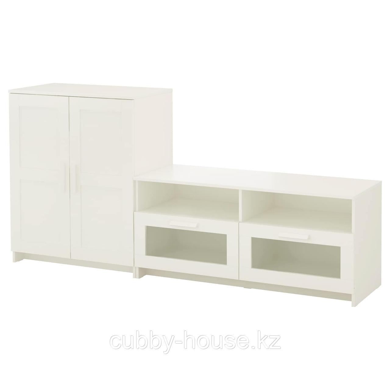 БРИМНЭС Шкаф для ТВ, комбинация, (белый, чёрный) 200x41x95 см