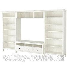 ХЕМНЭС Шкаф для ТВ, комбинация, белая морилка, 326x197 см, фото 2