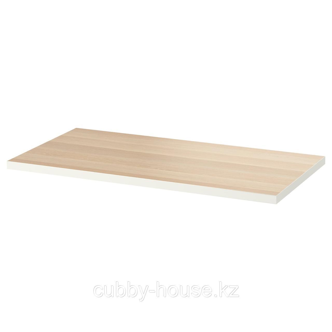 ЛИННМОН Столешница, белый, под беленый дуб, 100x60 см