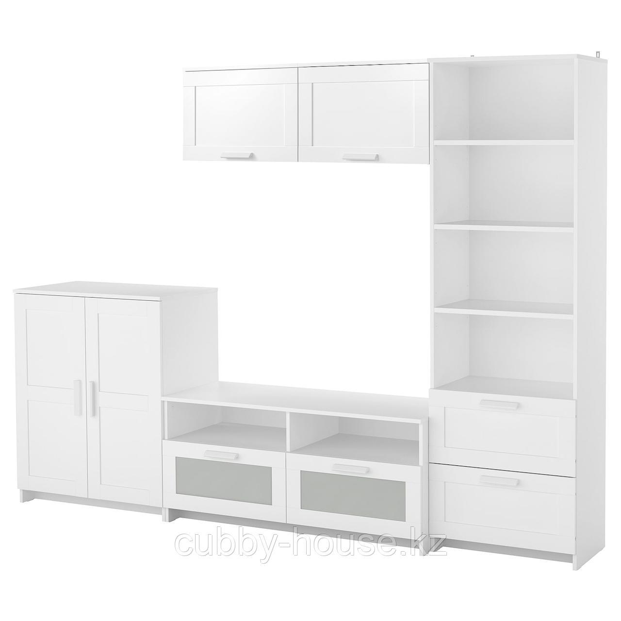БРИМНЭС Шкаф для ТВ, комбинация, (белый, чёрный) 258x41x190 см