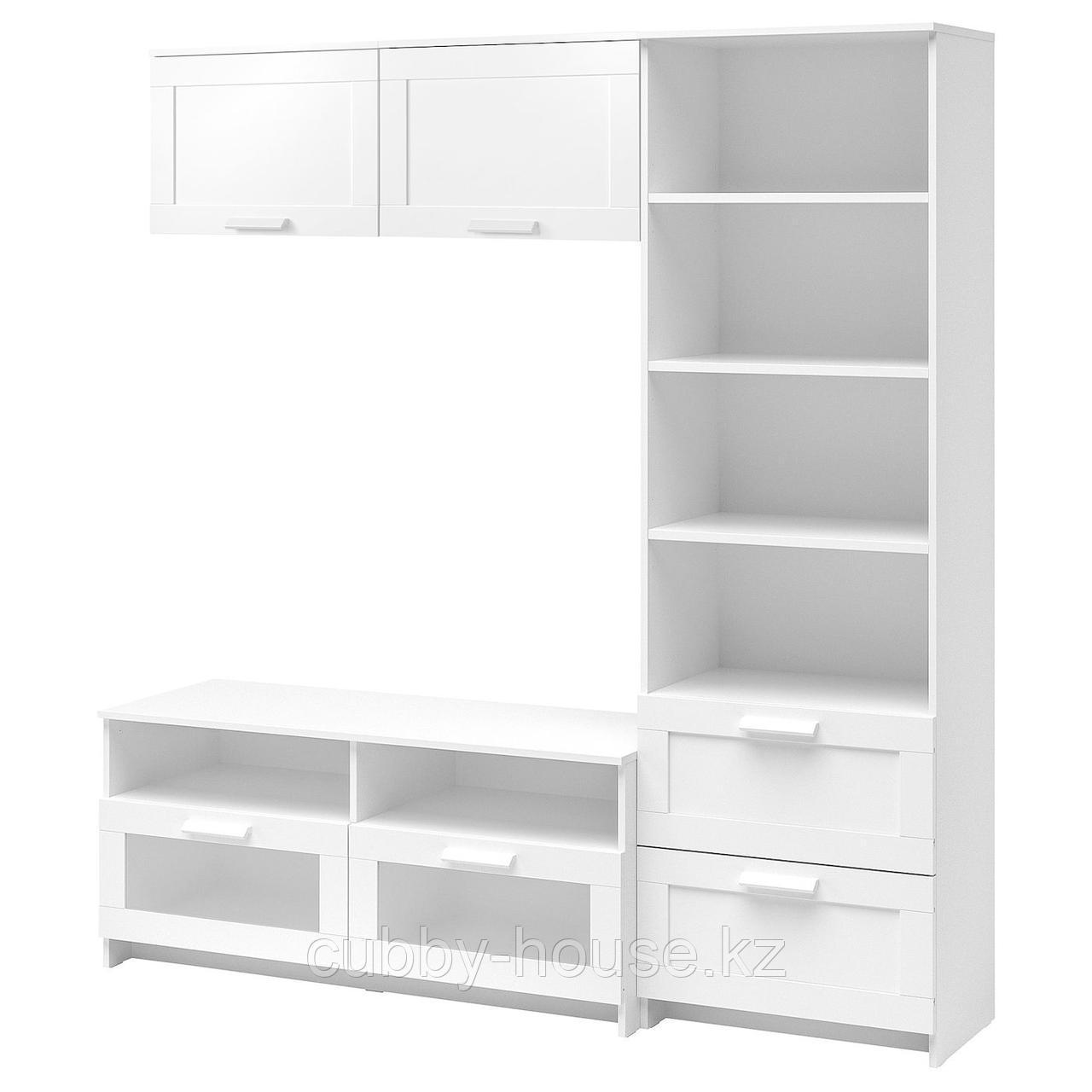 БРИМНЭС Шкаф для ТВ, комбинация, (белый, чёрный) 180x41x190 см