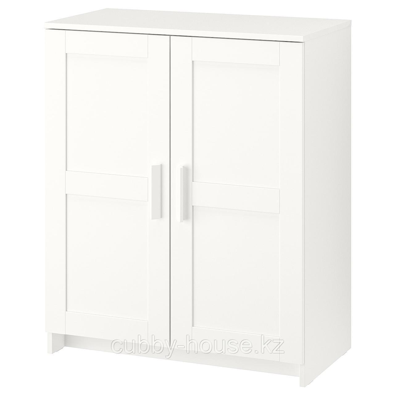 БРИМНЭС Шкаф с дверями, (белый, чёрный) 78x95 см