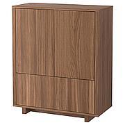 СТОКГОЛЬМ Шкаф с 2 ящиками, шпон грецкого ореха, 90x107 см