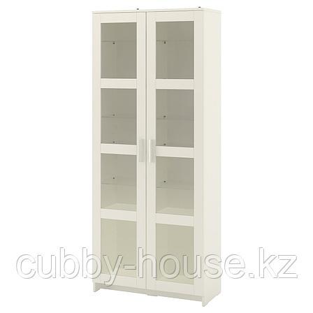 БРИМНЭС Шкаф-витрина, (белый, чёрный) 80x190 см, фото 2
